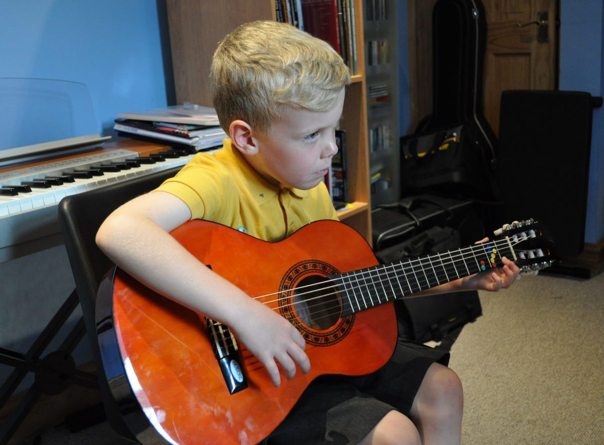 Young beginner in lesson
